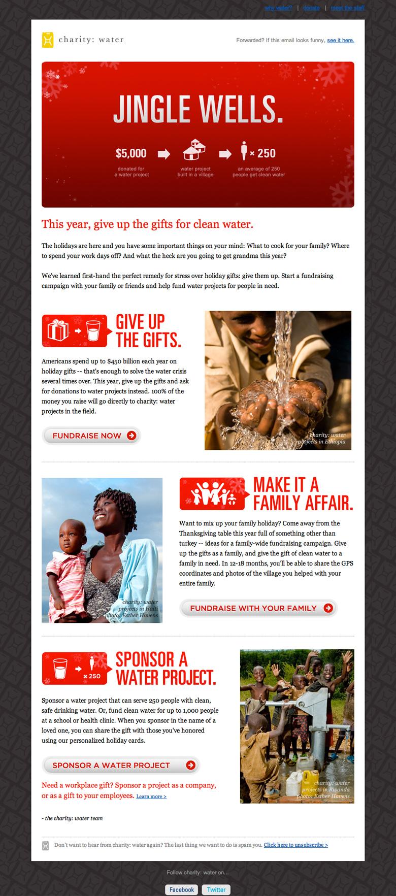 Charity Water Jingle Wells email