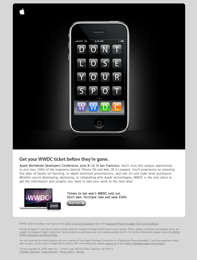 Apple-WWDC09 html email