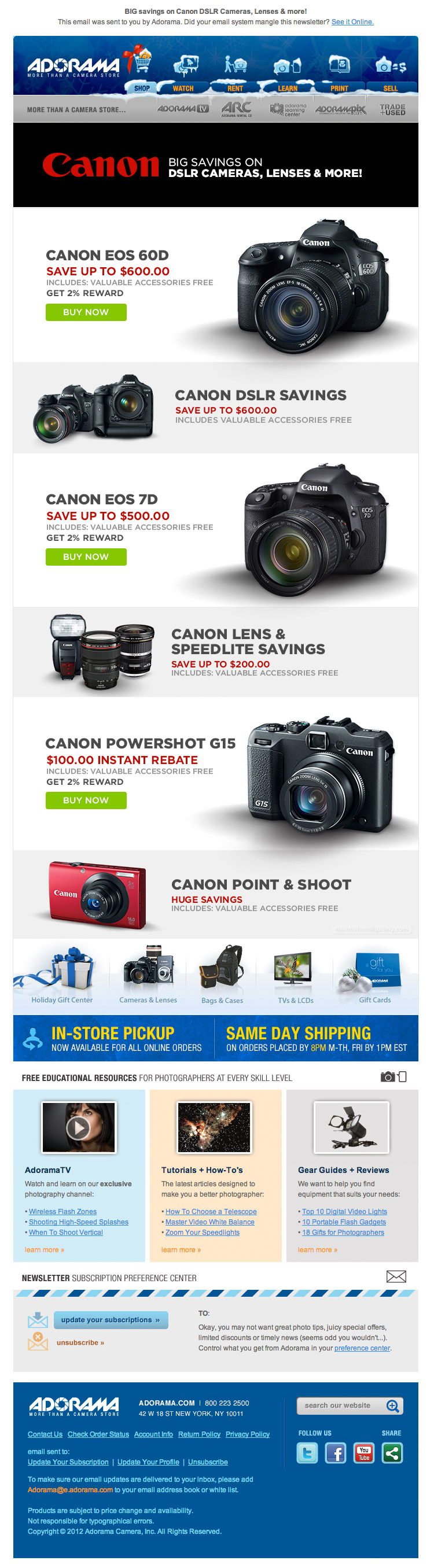 Adorama Latest Deals email