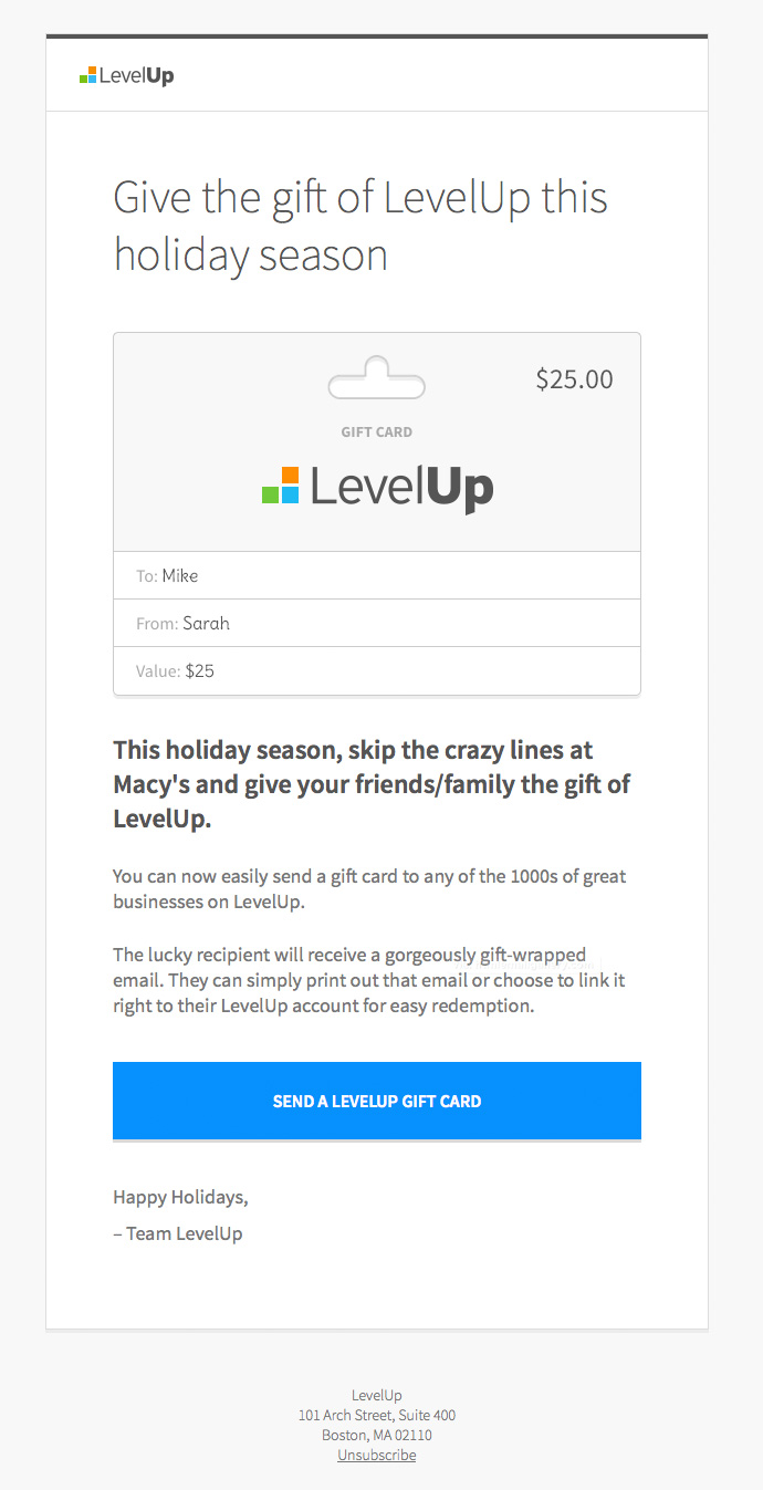 Give the Gift of LevelUp email