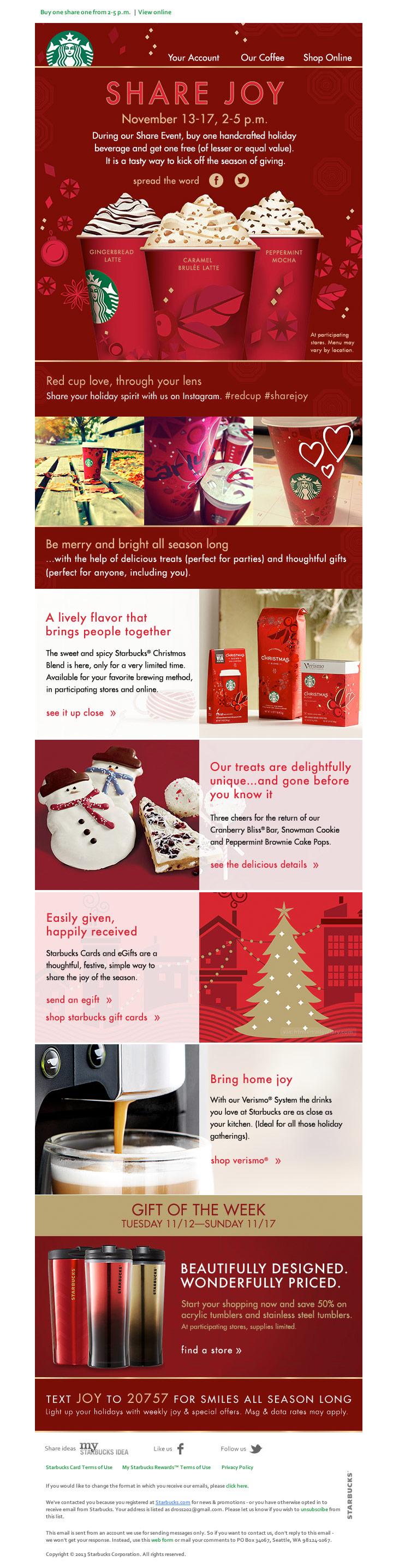 Starbucks Share Joy Holiday email