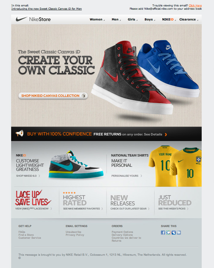 Nike store canvas collection email html email gallery for Corporate newsletter design inspiration