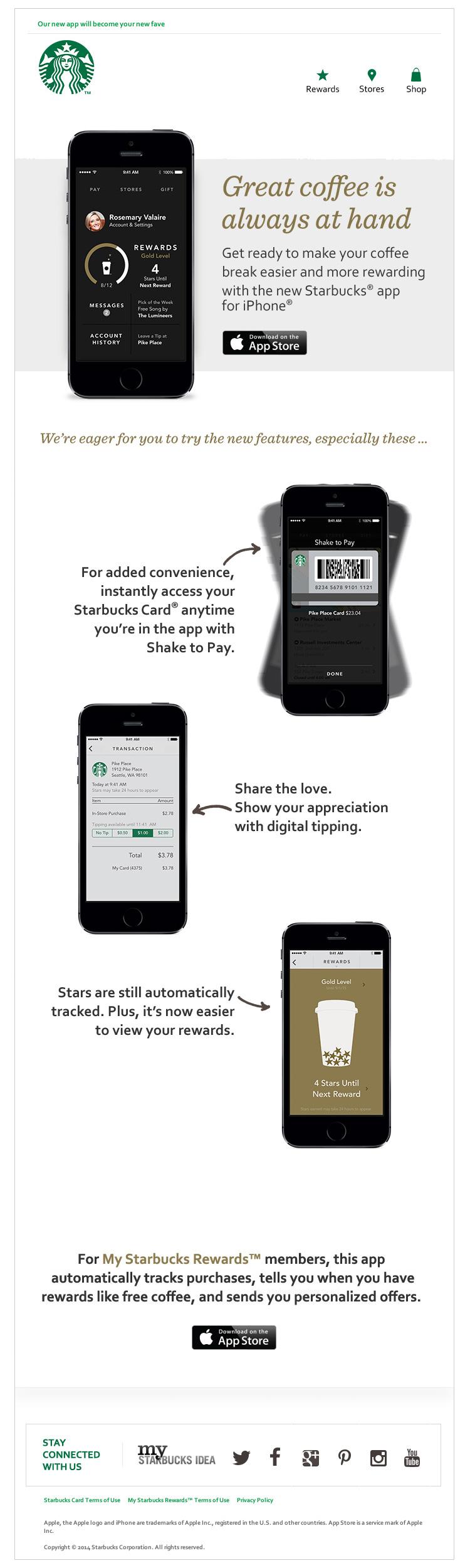 Starbucks Improved Mobile App email