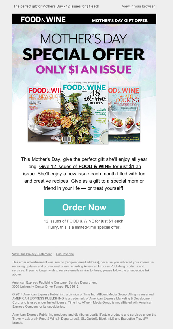 Food Wine Mothers Day Gift email
