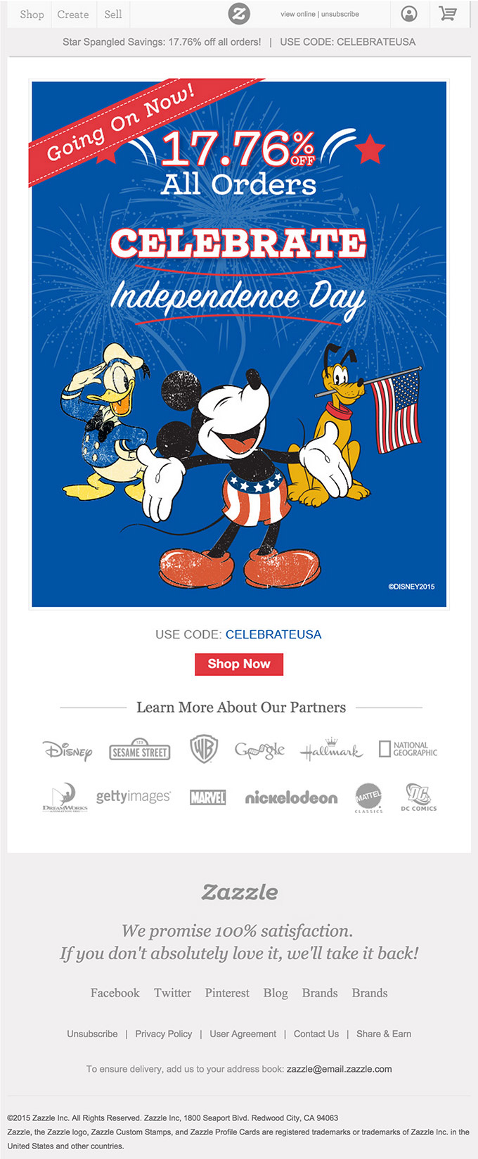 Zazzle July 4th email design