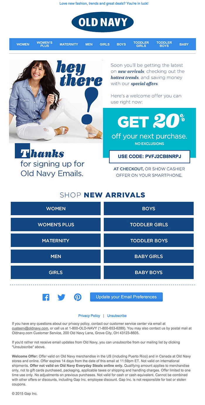 Old Navy Signup Thanks email design