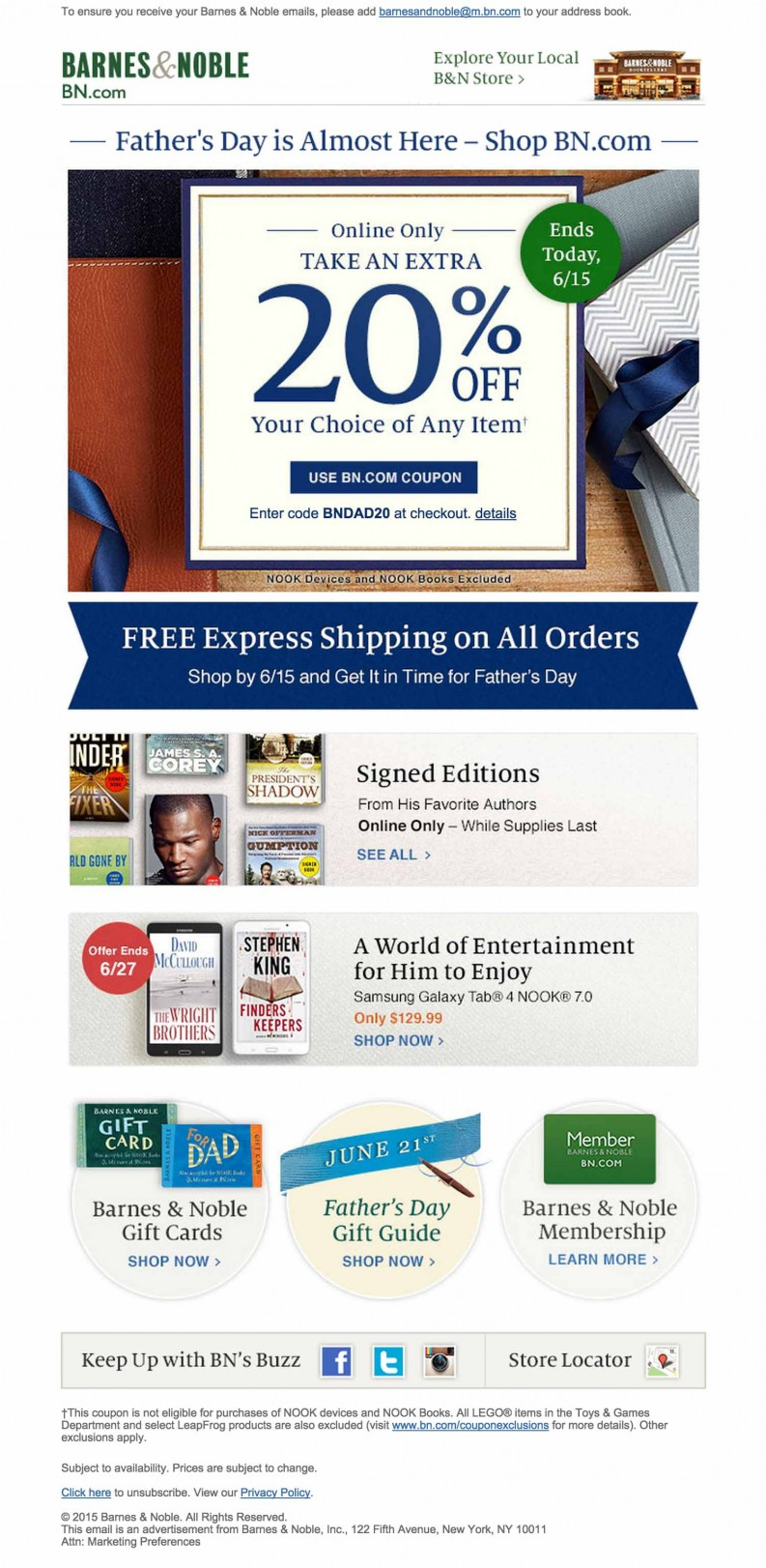 Barnes & Noble Fathers Day email