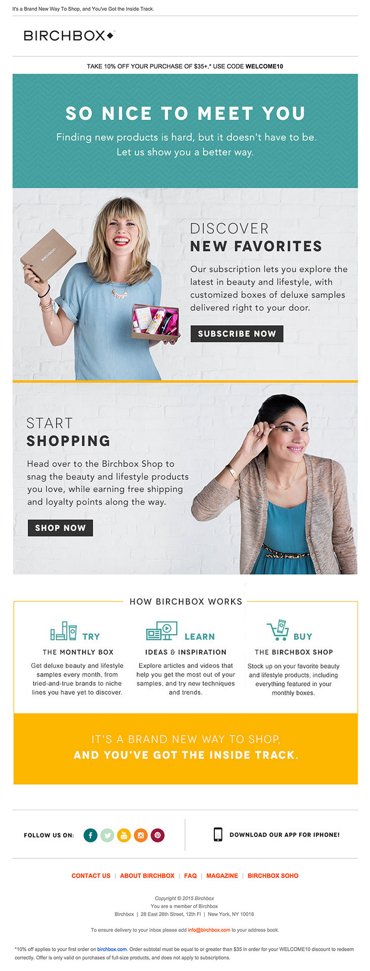 Birchbox Welcome email example