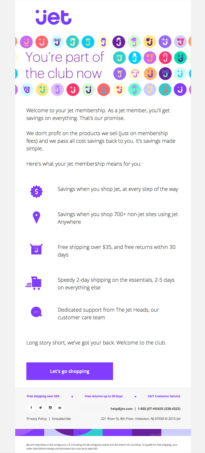 Jet eCommerce Welcome email design