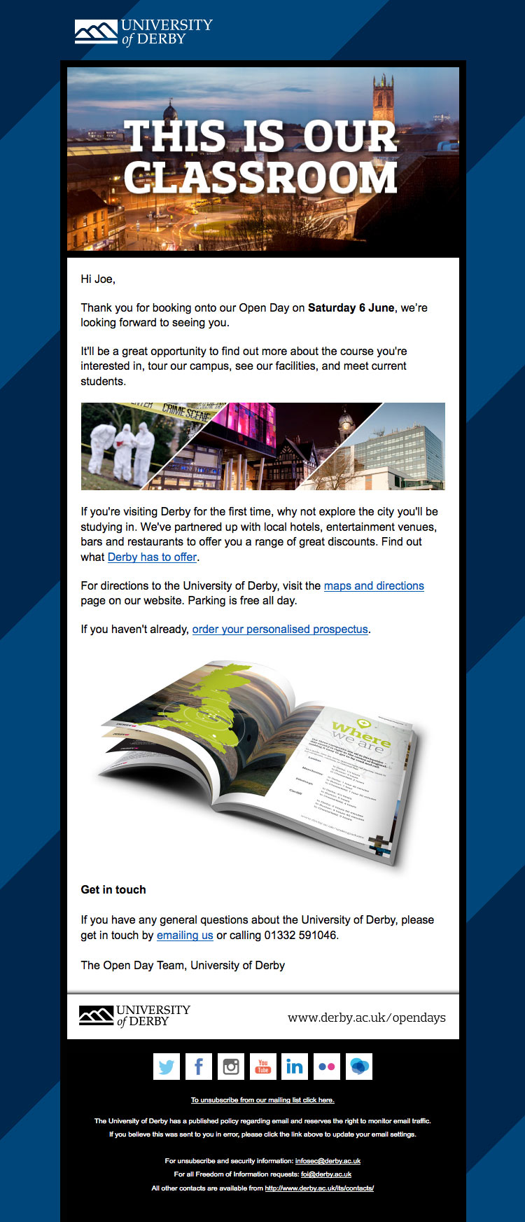 University of Derby email design