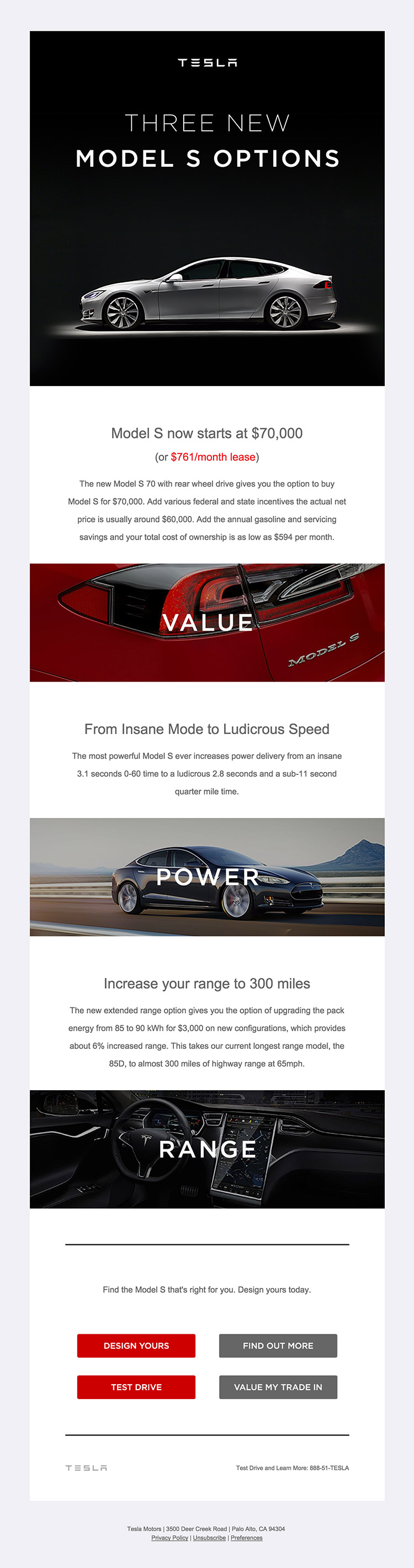 Tesla Model S Choices email design