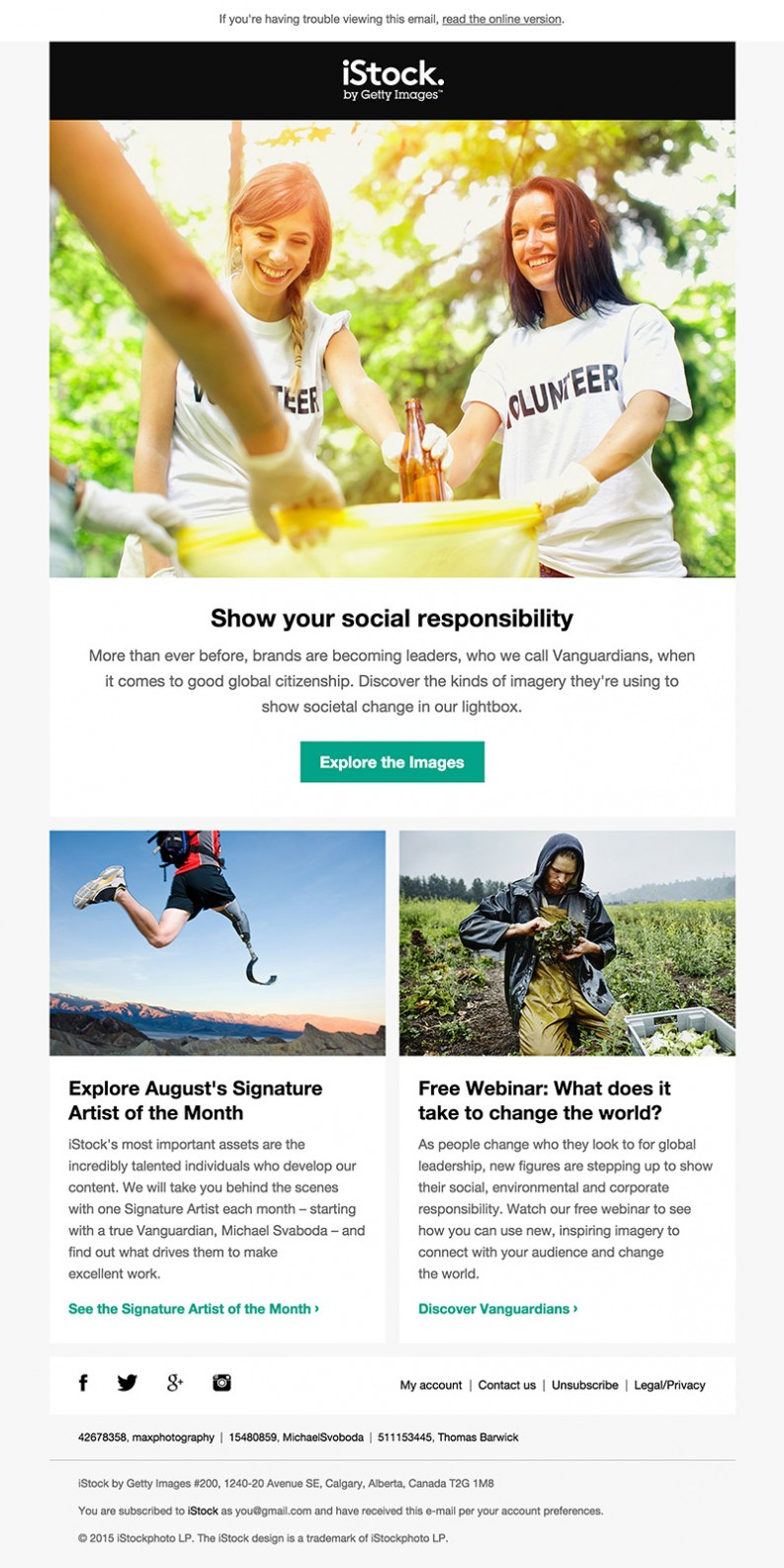 iStockPhoto Collections email inspiration columns