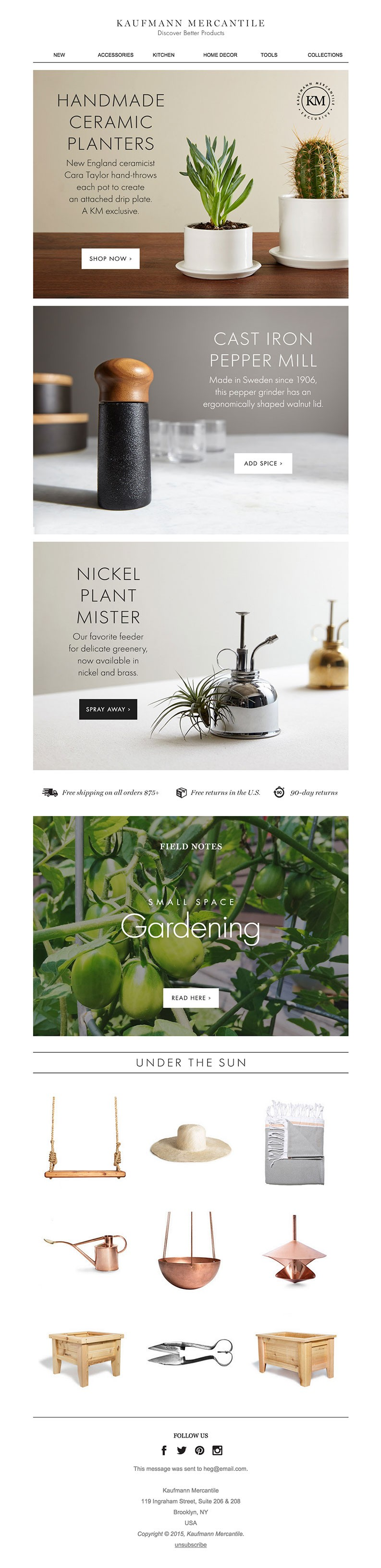 eCommerce email design inspiration