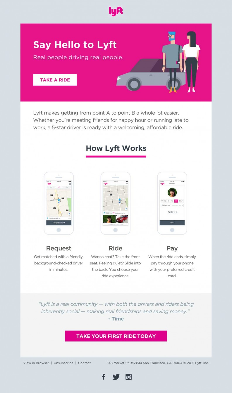 Lyft Welcome Email template design