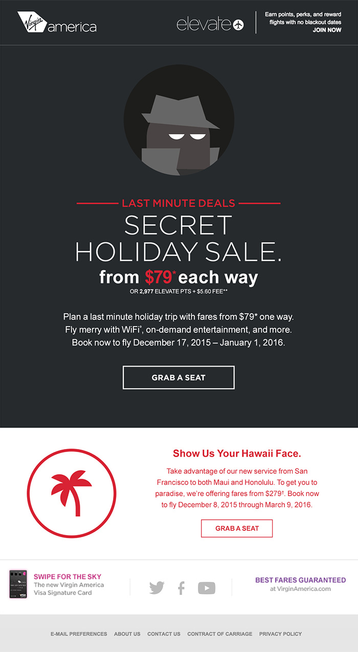 Fun holiday email design from Virgin Airlines