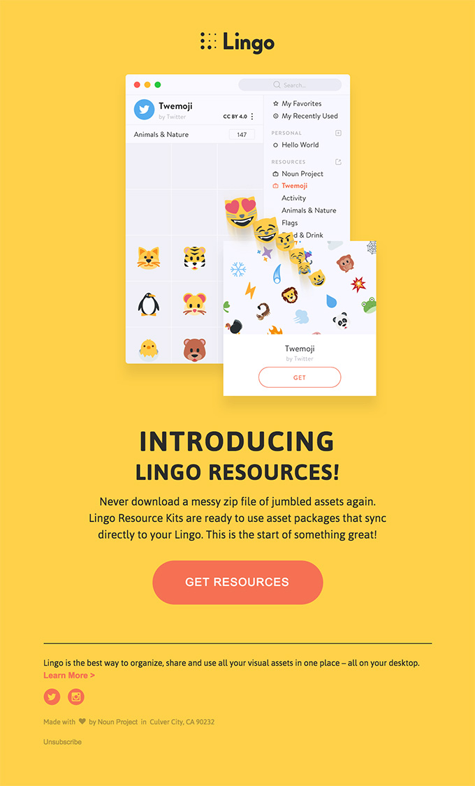 Minimal yellow email design