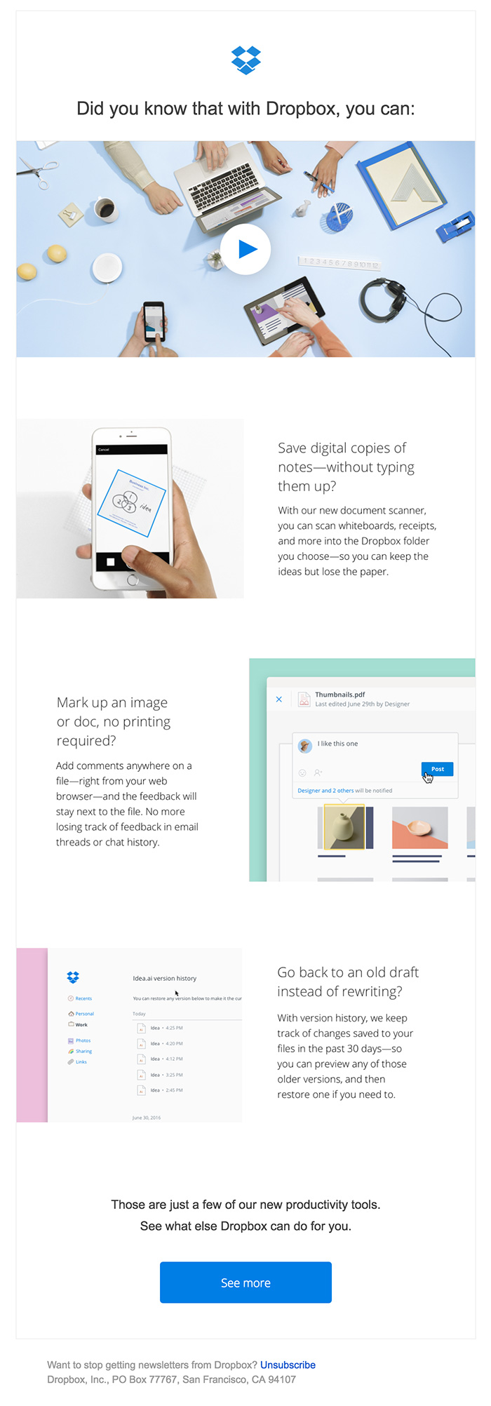 Minimal clean html email dropbox